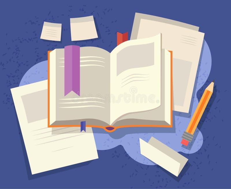 Otwiera hardcover książkę, rozrzuconego materiały i notatki z ołówkiem w komunikacji, edukacji, biznesie lub relaksie, ilustracji