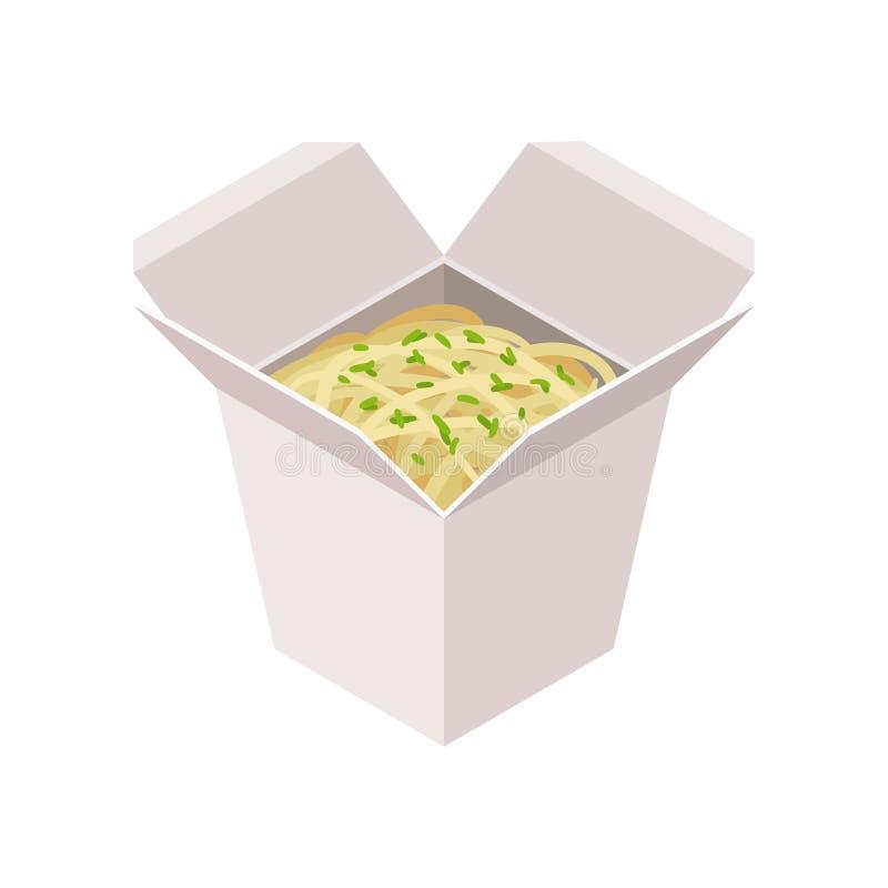 Otwiera karton z kluski Takeaway jedzenie Smakowity posiłek dla lunchu Isometric wektorowy element dla promo plakata lub ulotki ilustracja wektor