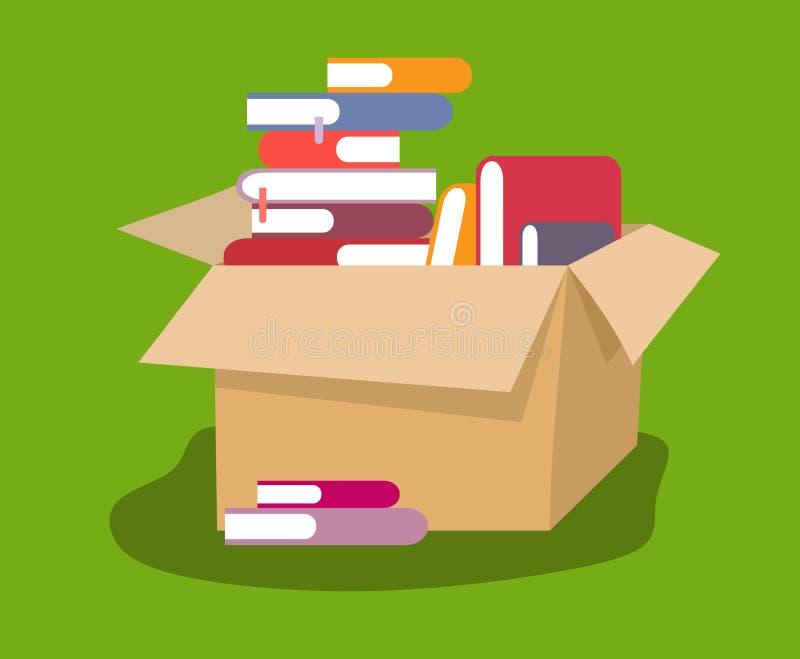 Otwiera karton z książkami w stylu mieszkania ilustracja wektor
