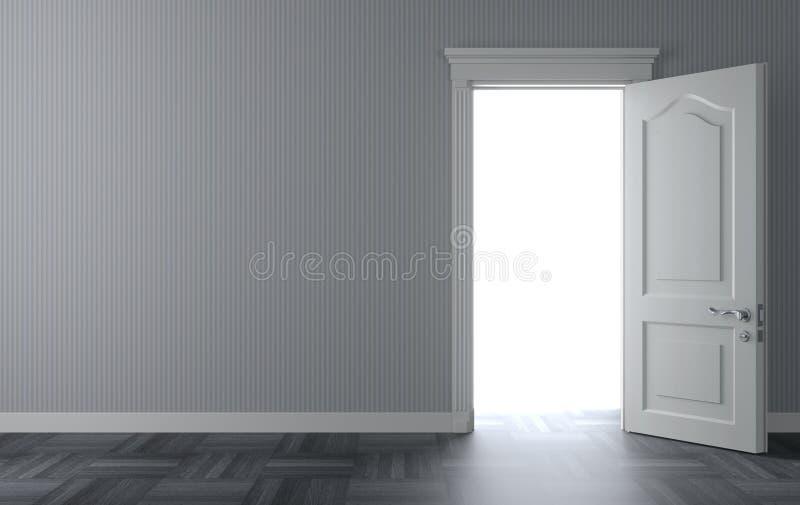 Otwiera klasycznego białego drzwi na ścianie fotografia royalty free