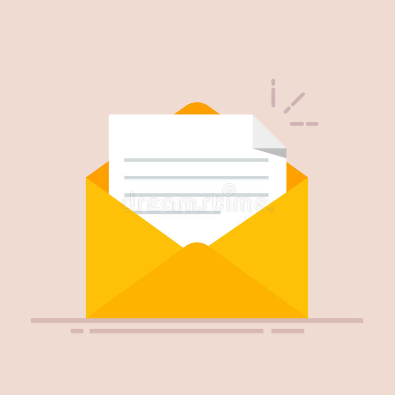 Otwiera kopertę z dokumentem listowy nowy Dosłanie korespondencja Płaska ilustracja odizolowywająca na koloru tle ilustracja wektor