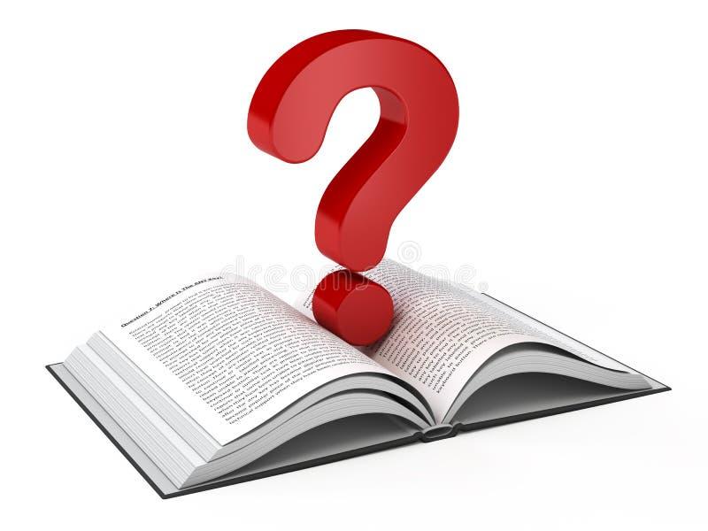 Otwiera książkę i znak zapytania ilustracji