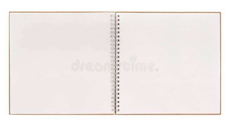 Otwiera książkę odizolowywającą na bielu notatnik z ślimakowatym segregatorem zdjęcia stock