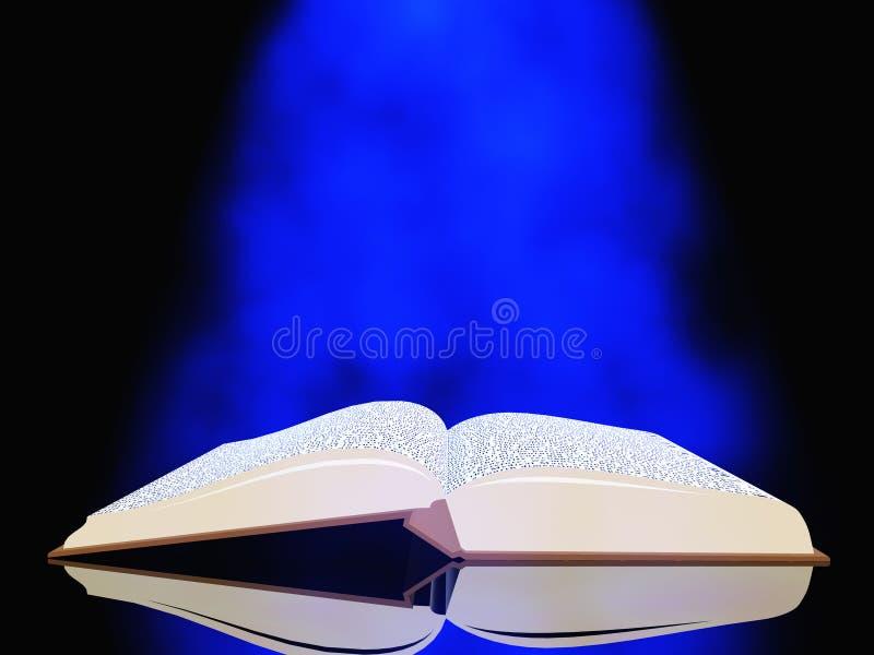 Otwiera książkę pod błękita światłem ilustracja wektor