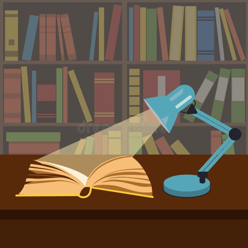 Otwiera książkę w świetle pracy lampy ilustracji