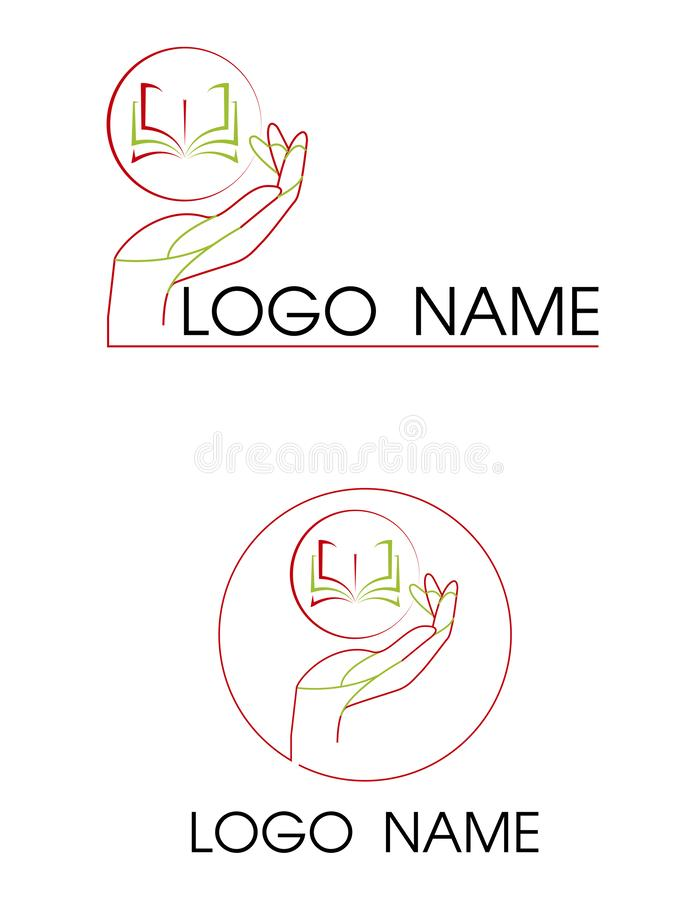 Otwiera książkę w ręka logu Edukaci wiedzy Biblioteczny logotyp ilustracja wektor