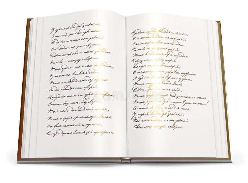Otwiera książkę wiersze.   royalty ilustracja