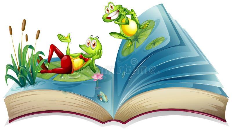 Otwiera książkę z dwa żabami w stawie ilustracja wektor