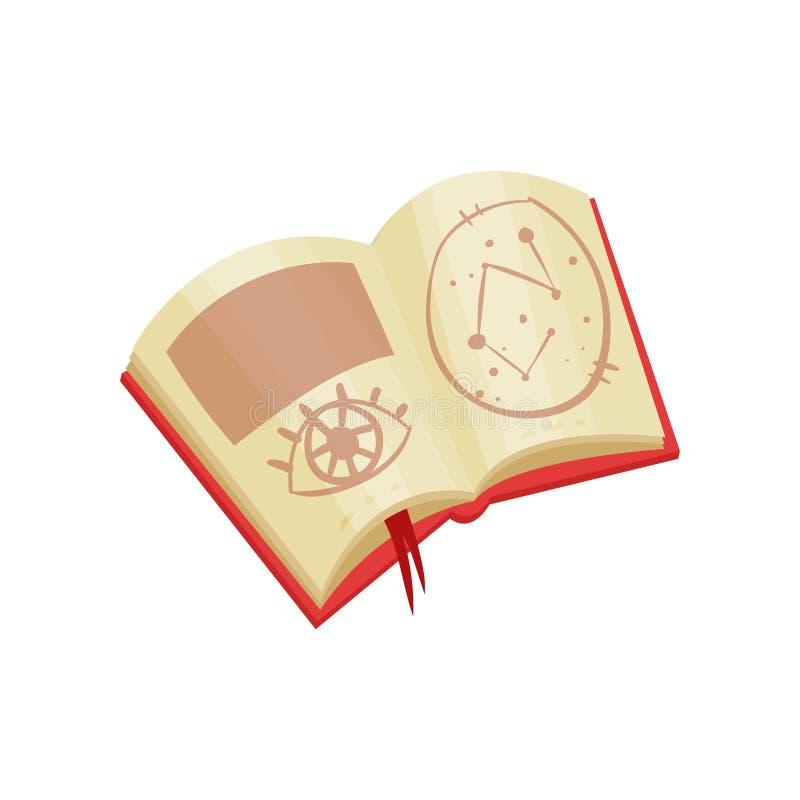 Otwiera książkę z magicznymi czarami i mistycznymi symbolami Wróżba temat Płaski wektor dla mobilnego gry lub promo sztandaru ilustracji