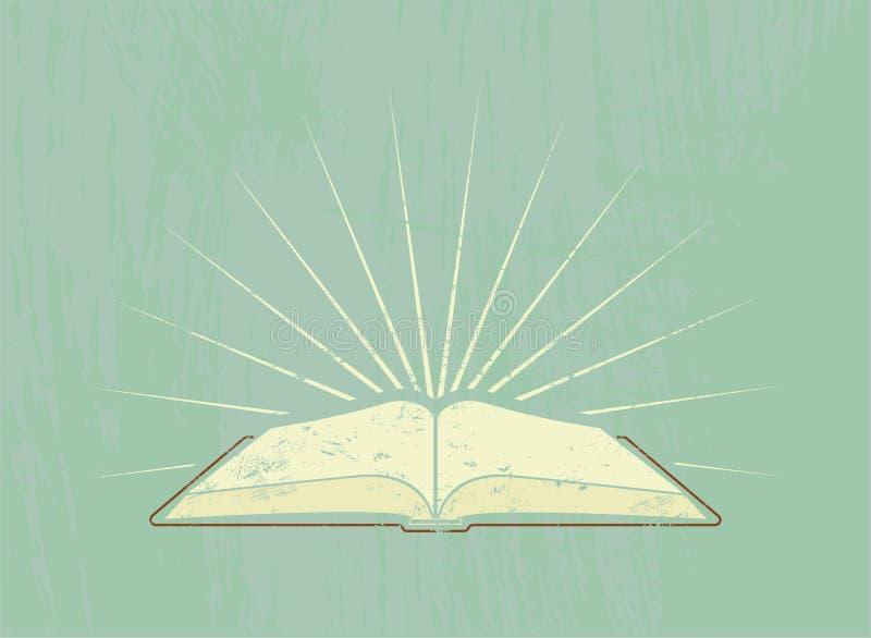 Otwiera książkę z promieniami 10 eps grunge ilustracyjny plakata stylu wektoru rocznik również zwrócić corel ilustracji wektora royalty ilustracja