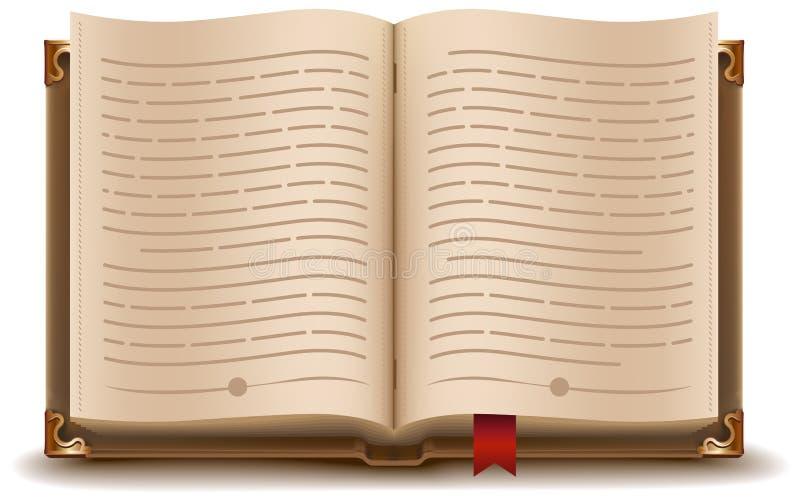 Otwiera książkę z teksta i czerwieni bookmark ilustracji