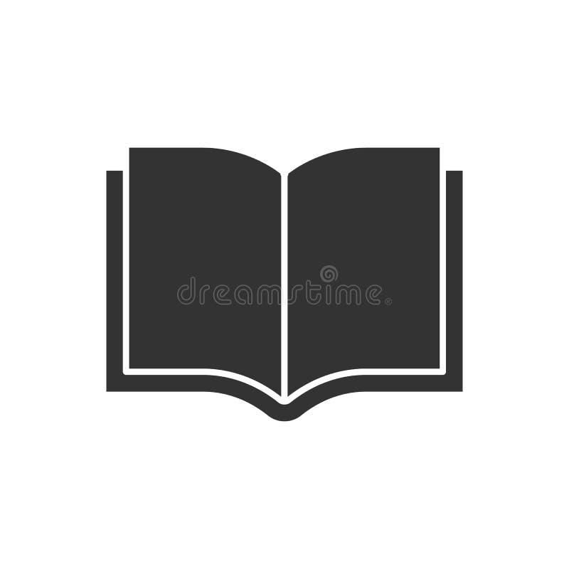 Otwiera książkową czarną ikonę ilustracja wektor
