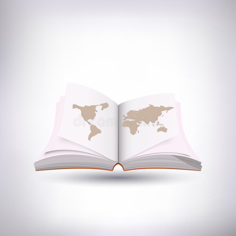Otwiera książkową i światową mapę zdjęcia royalty free