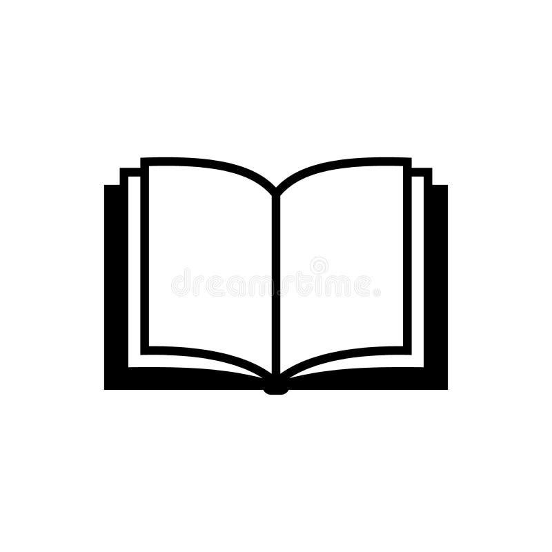 Otwiera książkową wektorową prostą ikonę Czerń odizolowywająca otwarta książkowa ikona royalty ilustracja