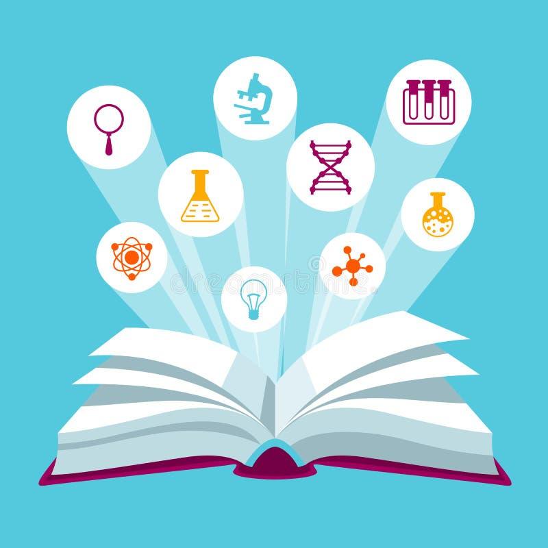 Otwiera książkowego concepr z edukacj ikonami Ilustracja dla szkół i instytucj edukacyjnych ilustracji