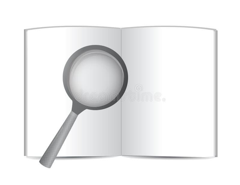 Otwiera książkowego i powiększa szkło. ilustracja royalty ilustracja
