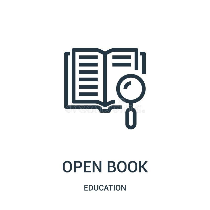 otwiera książkowego ikona wektor od edukacji kolekcji Cienkiej linii konturu ikony wektoru otwarta książkowa ilustracja Liniowy s royalty ilustracja