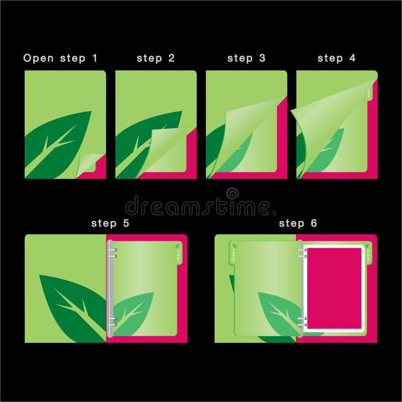 Otwiera książkowego kolorowego organizatora szablon i zamyka wektor - dzienniczka zielony pojęcie - royalty ilustracja