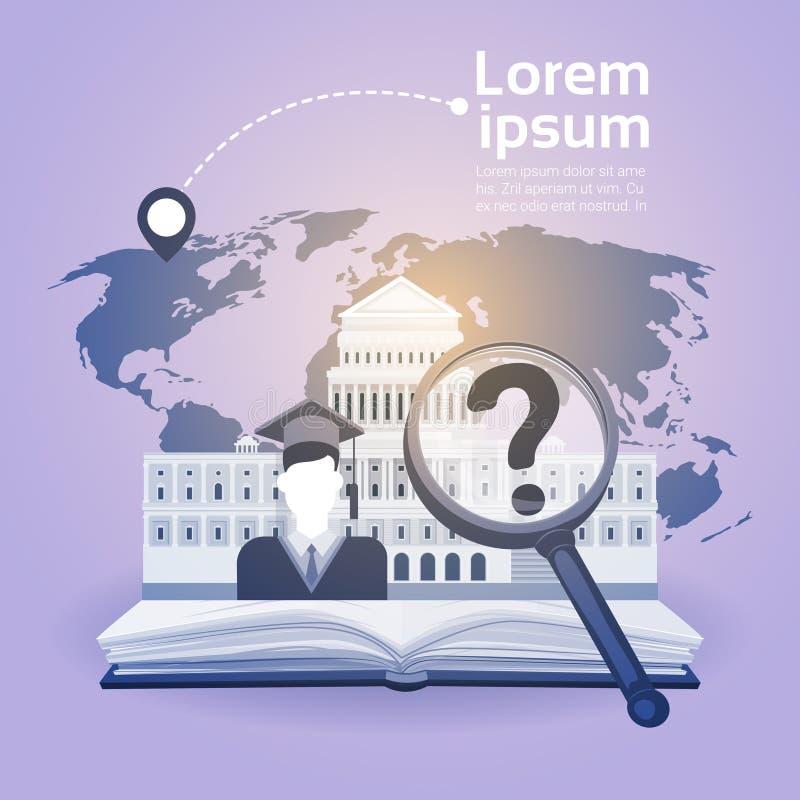 Otwiera Książkowego prawo biblioteki edukaci szkolnej wiedzy Czytającego pojęcie royalty ilustracja