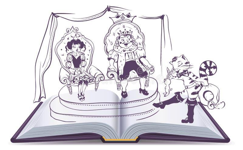Otwiera książkowej ilustraci bajkę Puss w butach ilustracja wektor