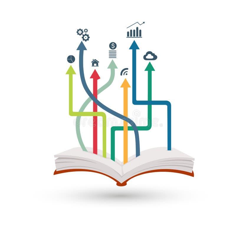 Otwiera książkowy infographic ilustracji
