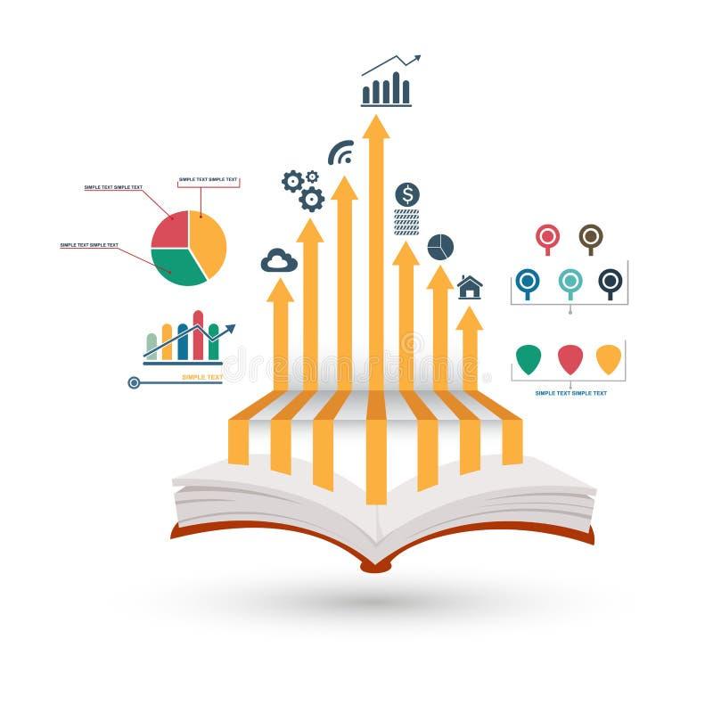 Otwiera książkowy infographic royalty ilustracja