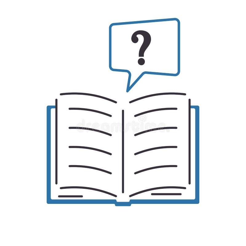 Otwiera ksi??kowego znak zapytania Kolor ikona w mieszkanie stylu Projekt symbol faq, pomoc, uczy si? royalty ilustracja