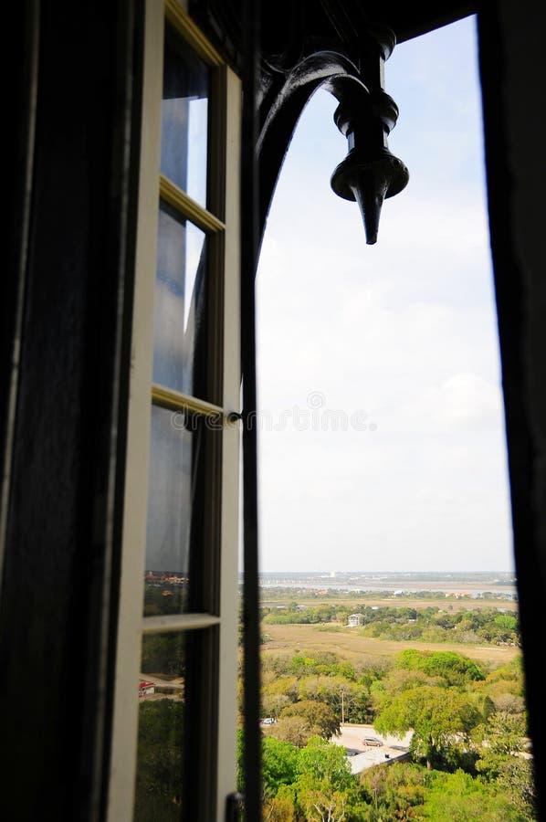 Otwiera latarni morskiej okno, St Augustine FL obrazy royalty free