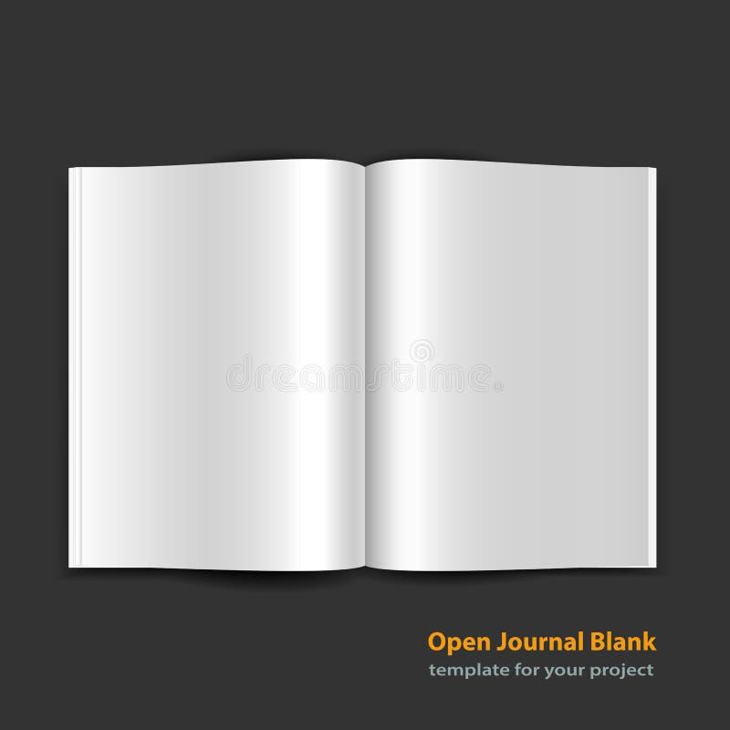 Otwiera magazyn stronę rozprzestrzeniającą z pustymi stronami royalty ilustracja