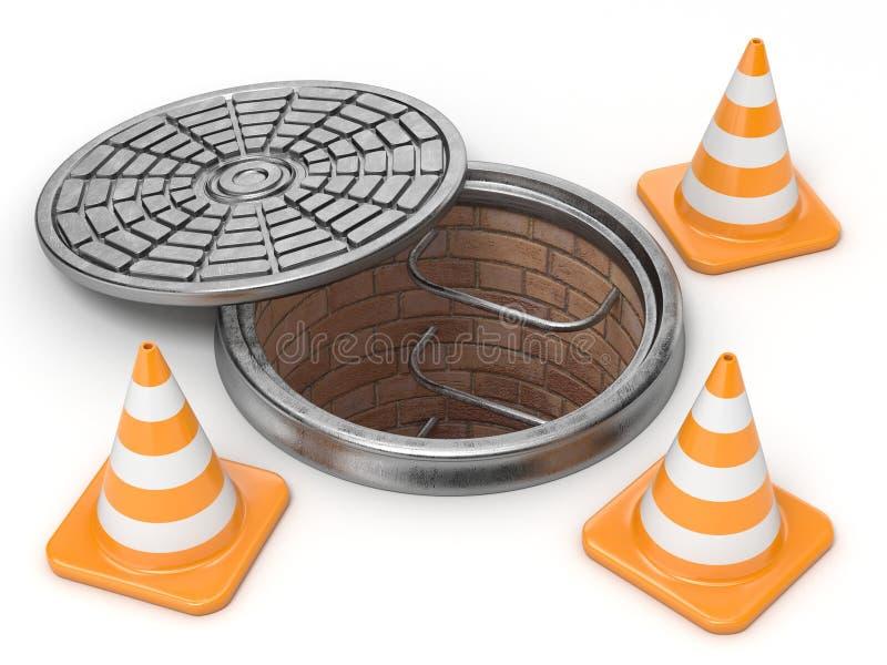 Otwiera manhole i kupczy rożki pojęcie budowa 3d ilustracji