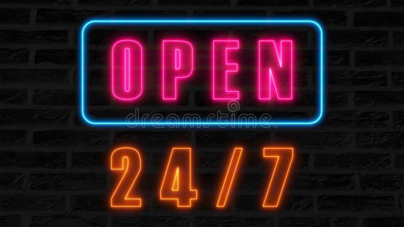 Otwiera 24-7 neonowego znaka, retro stylowy signboard dla baru lub klub, 3d odpłaca się komputer wytwarzającego tło royalty ilustracja