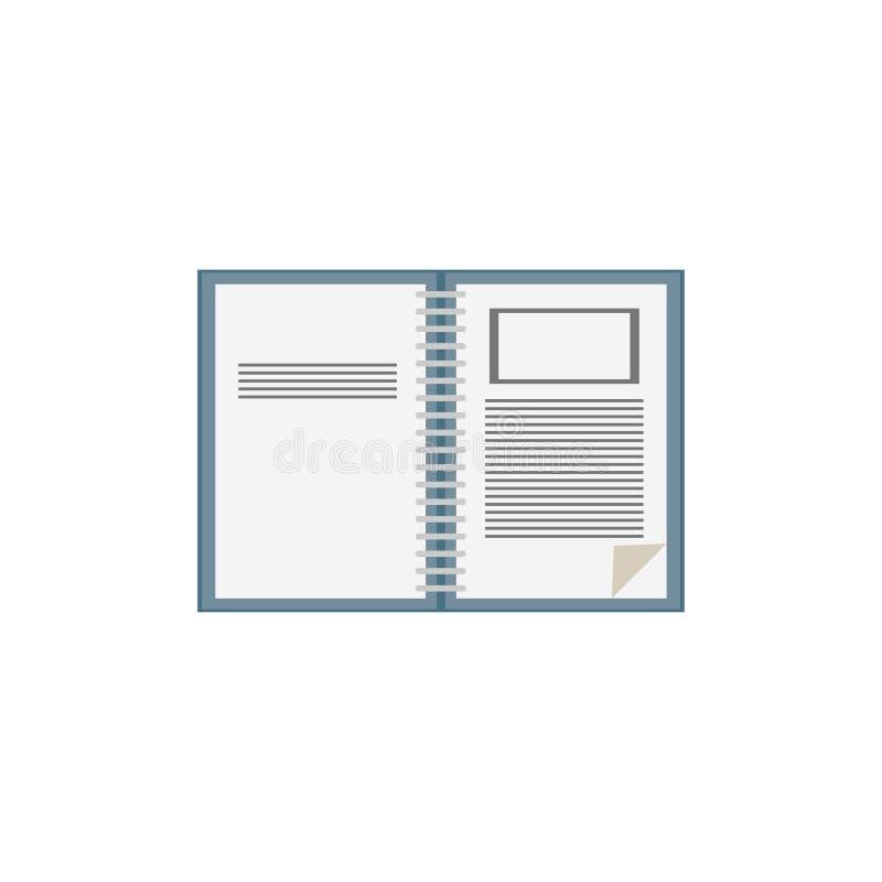 otwiera notatnik ikonę Biały tło również zwrócić corel ilustracji wektora 10 eps royalty ilustracja