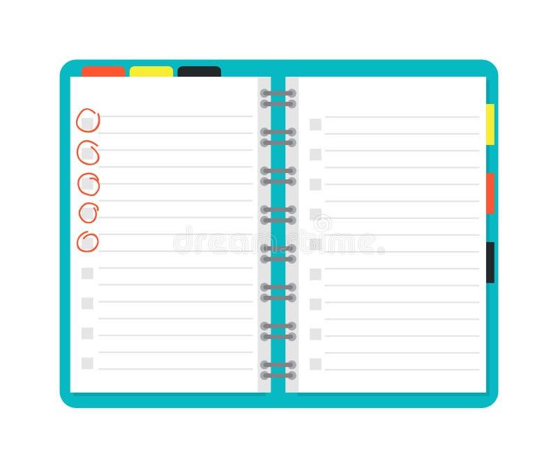 Otwiera notatnika planisty ilustrację ilustracji