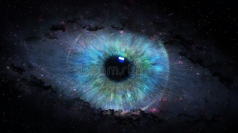 Otwiera oko w przestrzeni ilustracja wektor