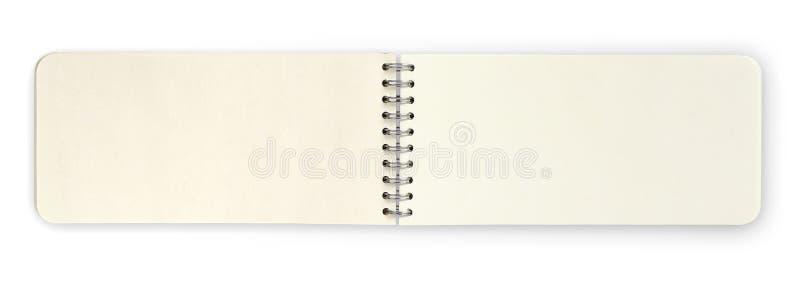 Otwiera papierową nutową książkę odizolowywającą nad białym tłem, przycina pa royalty ilustracja