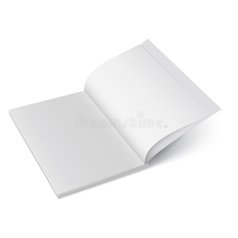 Otwiera papierowego czasopismo Wektoru egzamin próbny up broszura odizolowywająca Rozpieczętowany pionowo magazynu, broszurki lub royalty ilustracja