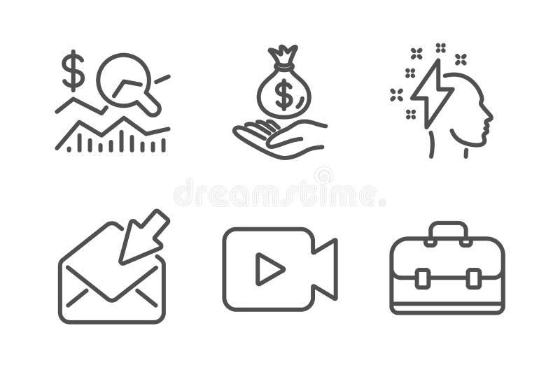 Otwiera poczt?, dochodu pieni?dze i Brainstorming ikony ustawia?, Sprawdza inwestycj?, znaki, kamera wideo i portfolio wektor royalty ilustracja