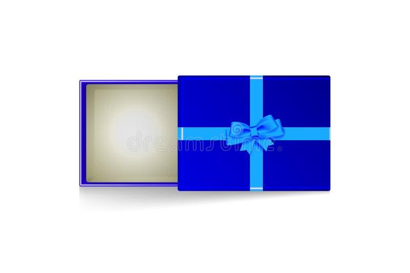 Otwiera prezenta pudełko z błękitnym łękiem odizolowywającym na bielu 10 eps ilustracyjny osłony wektor ilustracja wektor