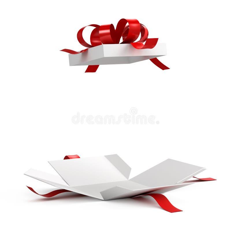 Otwiera prezenta pudełko z czerwonym faborkiem royalty ilustracja