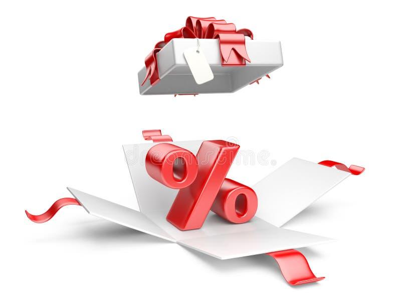 Otwiera prezenta pudełko z czerwonym procentu symbolem ilustracja wektor