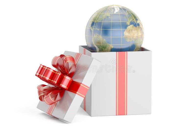 Otwiera prezenta pudełko z kulą ziemską, 3D royalty ilustracja