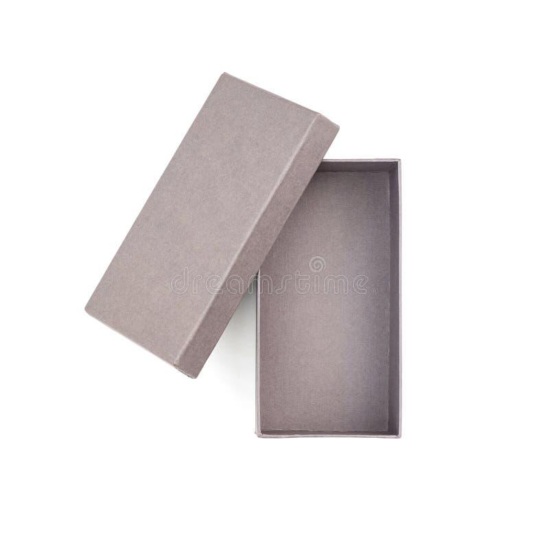 Otwiera prostokątnego płaskiego prezenta pudełko na białym tle i opróżnia obrazy royalty free