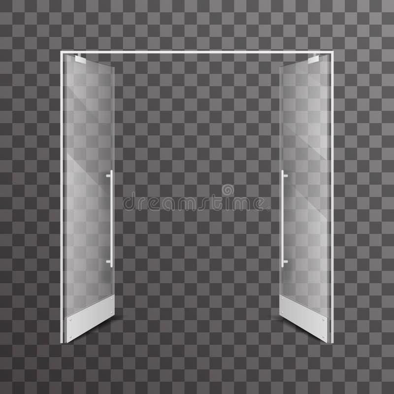 Otwiera przejrzystą sklepową dwoistych drzwi architektonicznego projekta elementu wektoru realistyczną szklaną wewnętrzną ilustra ilustracja wektor