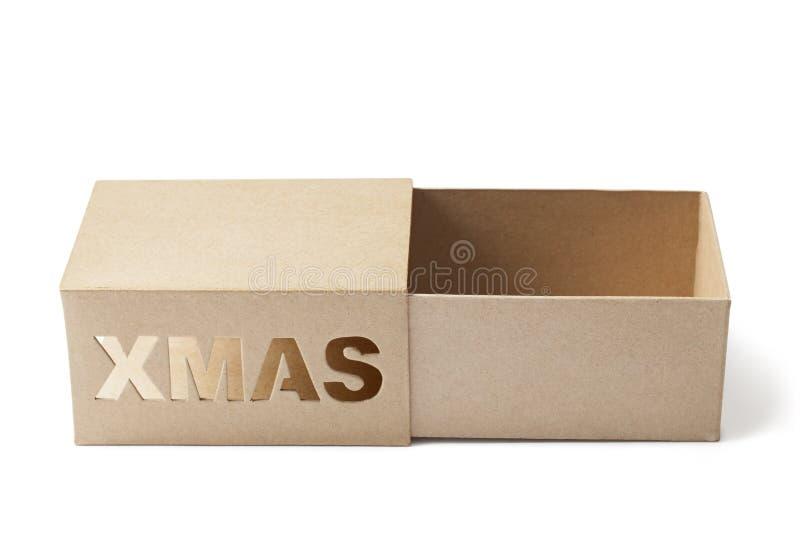 Otwiera Pustego Bożenarodzeniowego prezenta pudełko na bielu fotografia stock