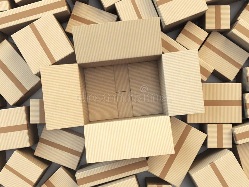 Otwiera pustego karton odizolowywającego na białym tle ilustracja wektor