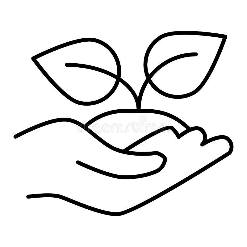 Otwiera rękę z kiełkową liniową ikoną środowiska oceanów ochrony rzek morzy symbolizm Cienka kreskowa ilustracja Rolnictwo Kontur ilustracja wektor