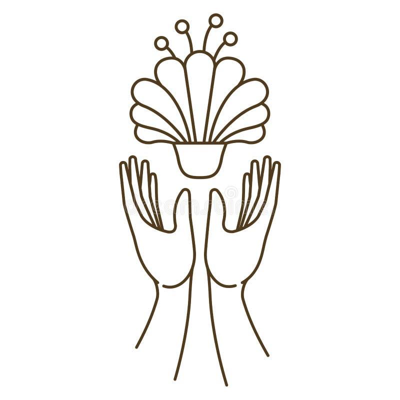 Otwiera r?ki z kwiat odizolowywaj?c? ikon? ilustracja wektor