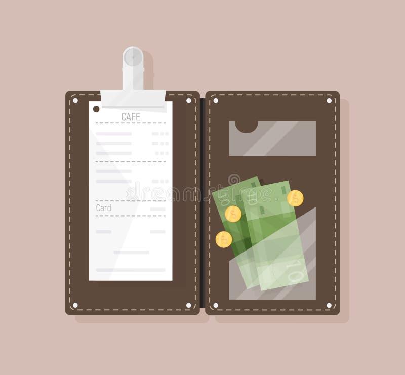 Otwiera rachunku w?a?ciciela lub czeka podawcy z restauracyjnym kwitem, pieni?dzy banknotami i monetami, odg?rny widok Klient zap ilustracja wektor