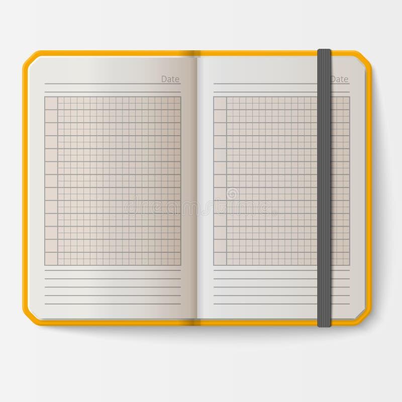 Otwiera realistycznego notatnika z strona dzienniczka biura prześcieradła szablonu broszury i pustego papieru edukaci copybook or ilustracji