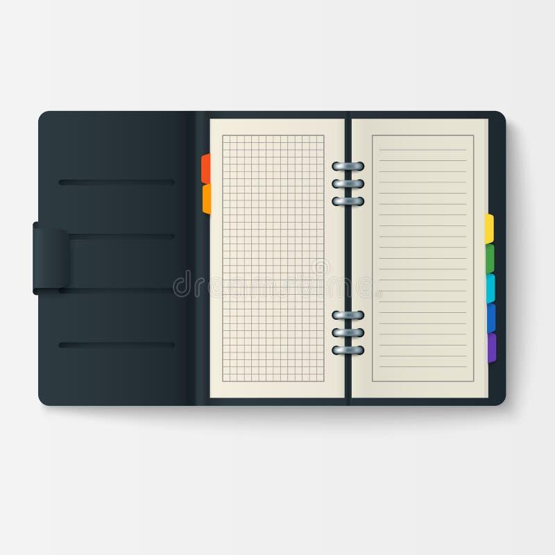 Otwiera realistycznego notatnika z strona dzienniczka biura prześcieradła szablonu broszury i pustego papieru edukaci copybook or ilustracja wektor